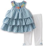 Kids Headquarters Blue Polka Dot Yoke Top & Leggings - Infant Toddler & Girls