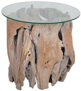 Jeffan Decorative Brown Rustic Round Teak Side Table