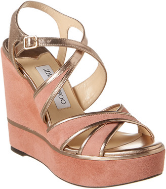 Jimmy Choo Alissa 120 Suede Wedge Sandal