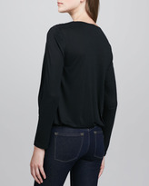 Alice + Olivia Cross-Front Silky Blouse