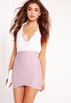 Missguided Petite Asymmetric Bandage Mini Skirt Lilac