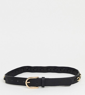 My Accessories London Exclusive black waist and hip jeans belt with gold chain detail