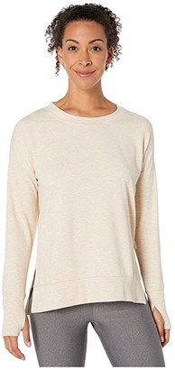 Jockey Active Fleece Sweatshirt with Thumbholes (Oatmeal Heather) Women's Clothing