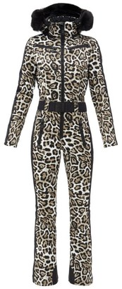 Goldbergh Cougar Leopard-print Faux Fur-trimmed Ski Suit - Leopard
