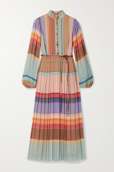 Zimmermann Belted Pleated Striped Silk Crepe De Chine Midi Dress - Pink