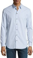 Armani Collezioni Mini Grid-Print Long-Sleeve Sport Shirt, Gray