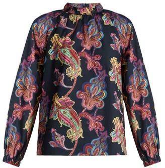Tibi Shirred-neck Paisley-print Cotton Top - Womens - Navy Multi