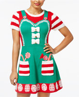 Hooked Up by IOT Juniors' Candy Cane Apron Holiday Sweater Dress