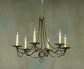 The Well Appointed House Handcrafted Rustic Iron Chandelier with Decorative Swags