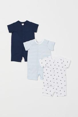 H&M 3-pack Cotton Jumpsuits - Blue