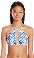 Bikini Lab Women's Tie-Dye Another Day High Neck Cropped Bra Top