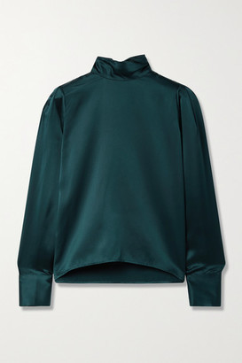SABLYN Sutton Silk-satin Turtleneck Blouse - Emerald
