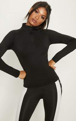 PrettyLittleThing Black Long Sleeve Zip Up Sports Top