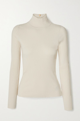Tory Burch Ribbed-knit Turtleneck Sweater - Ivory