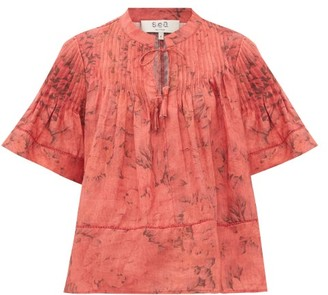 Sea Mimi Pintucked Voile Top - Womens - Red Print