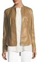 Lafayette 148 New York Embla Lambskin Leather Jacket w/ Ponte Combo