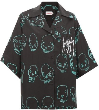 Charles Jeffrey Loverboy Skull-print Silk Shirt - Womens - Black Multi