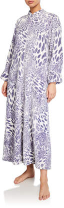 Natori Leopard-Pattern Plush Zip-Front Caftan