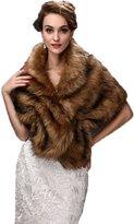 Yxjdress Women' Warm Winter Faux Fur Shawl Wrap Stole Cape Jacket Coat