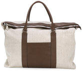 Brunello Cucinelli fold-over top tote - men - Leather/Canvas - One Size