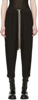 Rick Owens Black Drawstring Cropped Lounge Pants