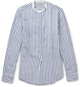 Massimo Alba Kos Grandad-Collar Striped Linen and Cotton-Blend Shirt