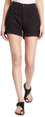 Frame Le Beau High-Rise Cuffed Linen Shorts