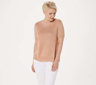 Lisa Rinna Collection Metallic Yarn Sweater