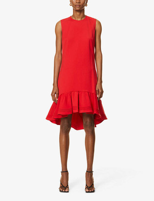 Victoria Victoria Beckham Sleeveless pin-tucked hem stretch-woven midi dress