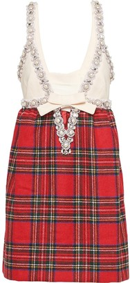 Miu Miu Shetland embellished plaid dress