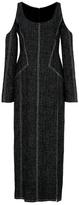 Wes Gordon Crosshatch Linen Open Shoulder Dress
