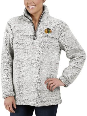 G Iii Women's G-III 4Her by Carl Banks Gray Chicago Blackhawks Sherpa Quarter-Zip Pullover Jacket
