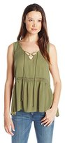 Eyeshadow Women's Woven Peasant Tank with Trim and Tassel