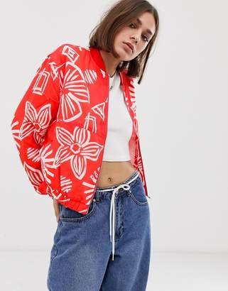 Tommy Jeans summer floral print bomber jacket-Red