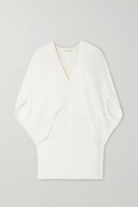 Halston Cape-effect Draped Crepe Mini Dress - Cream
