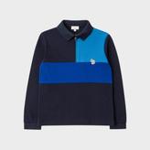 Paul Smith Boys' 7+ Years Navy Panelled Zebra-Logo Polo Shirt