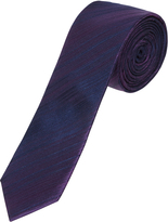 Oxford Silk Tie Fine Strp Skny Ppl Lt X