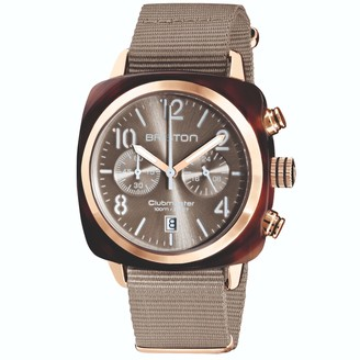 Briston Watches Briston Clubmaster Classic Chronograph Tortoise Shell Acetate, Sunray Grey Taupe Dial And Rose Gold