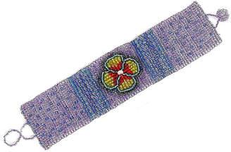 Fiona fiona Women's Bracelets Purple, - Purple & Green Floral Seed Bead Bracelet