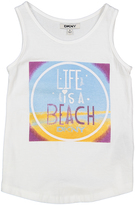 DKNY Bright White 'Life is A Beach' Tank - Toddler & Girls