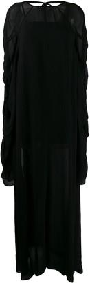 Vera Wang ruched sleeve maxi dress