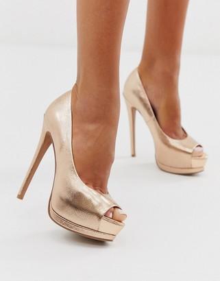 Asos Design DESIGN Playful platform high heels in rose gold