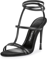 Tom Ford Leather T-Strap 105mm Sandal, Black