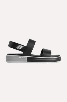 Prada Logo-embossed Rubber-trimmed Leather Sandals - Black
