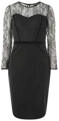 Dorothy Perkins Womens Black Lace Velvet Pencil Dress, Black