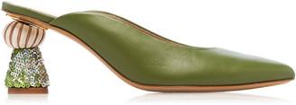 Jacquemus Maceio Embellished-Heel Leather Mules