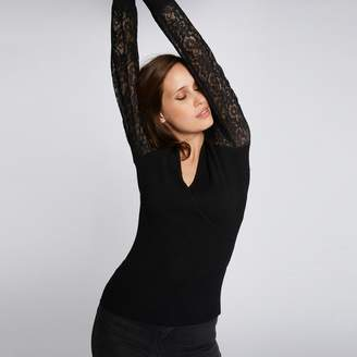 Morgan Laced V-Neck Jumper with Sheer Sleeves