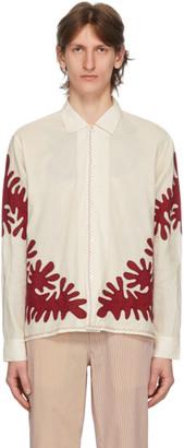 Bode White Cut-Out Applique Shirt