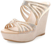Rene Caovilla Crystal-Embellished Two-Band Wedge Slide Sandal, Beige/Topaz