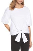 Gibson Women's Bubble Sleeve Tie Front Top